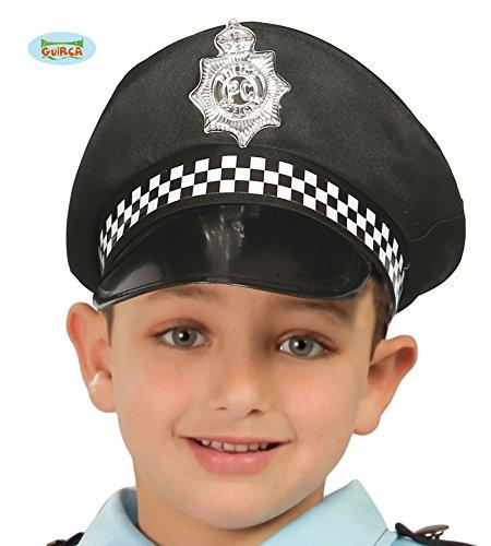 Guirca Schwarzer Polizei Hut für Kinder Polizeimütze Karneval Fasching Polizist Mütze ()