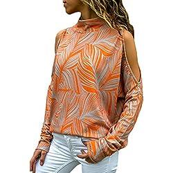 YOINS Mujer Camisa Casual Manga Larga Blusa Sin Hombro Camisetas a Rayas Cuello Redondo Imprimiendo Pullover Naranja EU40-42