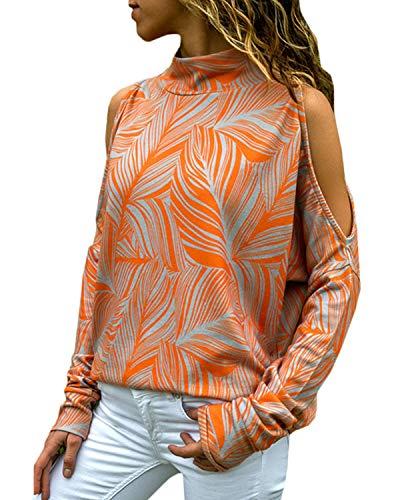 YOINS Sexy Schulterfrei Oberteil Damen Shirt Off Shoulder Top Pullover Damen Rollkragen Langarm Gestreift Pulli Lose Tshirt Hemd Orange EU40-42
