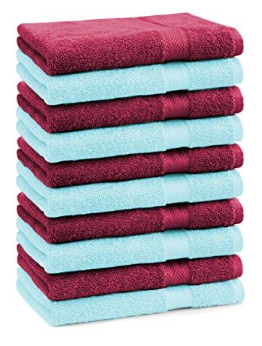 BETZ lot de 10 serviettes débarbouillettes taille 30x30 cm 100% coton Premium couleur rouge foncé et turquoise