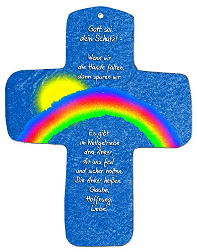 """metalum Premium-Kreuz aus Metall """"Gott sei dein Schutz"""" zum Aufhängen -ein wirklich ausgefallenes christliches Geschenk"""