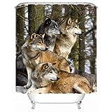 XHWL767 Wolf Pack Duschvorhang Badezimmer Dekor Jungen Mädchen TiereSchimmelbeweis