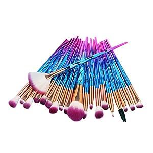 Tefamore Lady Conjunto de pinceles de maquillaje 20 diamantes Eyebrow Eyeliner Blush Cosmetic (Azul)
