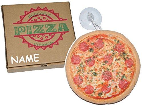 Unbekannt kleines Kissen als Pizza 21 cm * 21 cm incl. Namen - mit Saugnapf für die Scheibe - Kuschelkissen / mit Pizzaschachtel - Pizzakissen - weich für Kinder + Erwa..