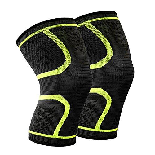 Beskey Kniebandage (Paar) Anti-Slip Kniestütze Super Elastisch Atmungsaktiv Knee Sleeves Hilfe Joint Pain Relief für Arthritis Leidende und Erholung von Verletzungen Fit für den Sport (Grün, M)