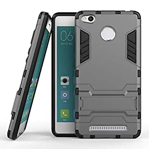 TARKAN Heavy Duty Shockproof Armor Kickstand Protective Back Case Cover for Xiaomi Redmi 3S Prime [Black]