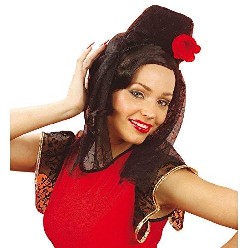 Kostüm Kopfbedeckung Blume - NET TOYS Spanischer Kopfschmuck Rote Rose Kopfbedeckung Blume Haarschmuck Flamenco Spitze Schleier Spanierin Kopf Schmuck Tänzerin Kostüm Accessoire