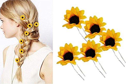 Kostüm Bun Maker - 10 STÜCKE Gelb Hawaii Sunflower Haarnadeln Haarspangen Haarspange Haarspangen Haar Styler Styling Zubehör für Party Strand Urlaub Hochzeit Braut