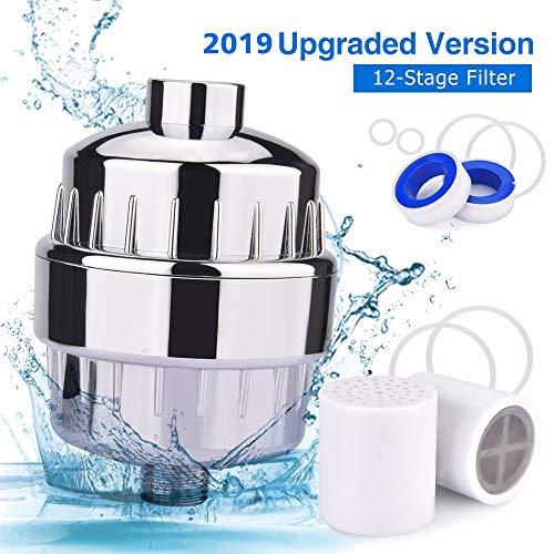 Duschfilter, BASEIN 12-Stufiger Wasserfilter Weichmacher Duschkopf Wasserfilter, Einschließlich 2 Austauschbarer Filterpatronen, Chromgehäuse, Teflonband und 6 Scheibenringen