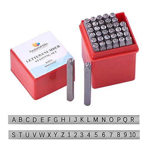 PandaHall Elite 6mm Schlagbuchstaben Schlagzahlen 36tlg. Set Schlagbuchstabensatz Schlagzahlensatz