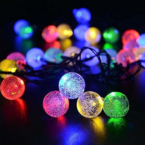 lederTEK Guirlande lumineuse solaire en forme de boule de cristal