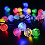 lederTEK Cadena de Luz LED con Energía Solar (6m 30LED) para Árbol de Navidad, Patio, Jardín, Terraza y Todas las Decoraciones con Diseño de Bolas de Cristal de Colores