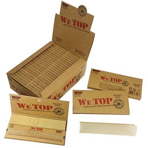 WeTop Zigarettenpapier und Filterspitzen, ungebleicht, Kingsize Slim, 24 Packungen x 33 Blätter und Spitzen