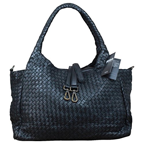 Made in Italy Damen Schultertasche Beuteltasche Bag Shopper Leder Vintage Geflochten Schwarz, Farbe:Schwarz