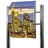 BANJADO Edelstahl Briefkasten groß, Standbriefkasten freistehend 126x53x17cm, Design Briefkasten mit Zeitungsfach Motiv Frankfurt Main