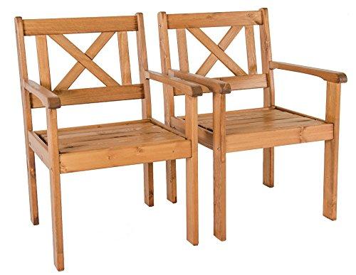 Set Massivholz Sessel (Ambientehome Garten Sessel Stuhl Massivholz Gartenmöbel EVJE, braun, 2-teiliges Set)