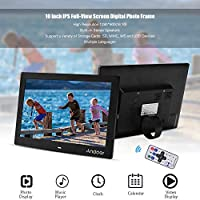 Honorall 10 Inch Digital Picture Photo Frame IPS Full-View Screen Eletronic Photo Album High Resolution 1280 * 800(16:10) Clock Calendar MP3 MP4 Video Player with Remote Control Black UK Plug