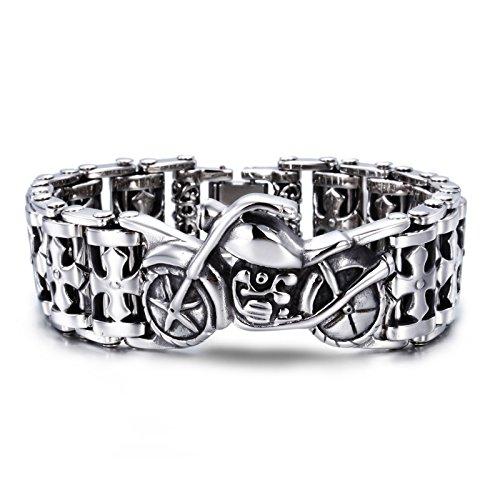 JOLIN Titan Edelstahl-Kreuz-Armband-Silber-Ton für Männer