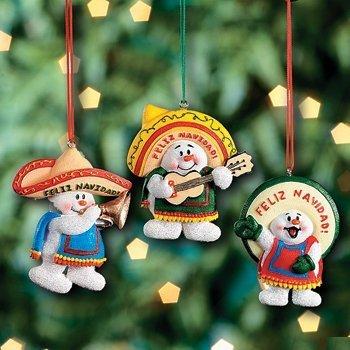 Fun Express Feliz Navidad Schneemann Weihnachtsdekoration, mexikanischer Weihnachtsschmuck, 3 Stück
