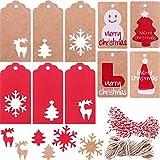 200 Piezas 10 Estilos de Etiquetas de Papel Kraft Etiquetas de Regalo Etiquetas Colgantes con Patrones de Copo de Nieve Árbol de Navidad Alce y 65,6 Pies de Cordel para Navidada Manualidades