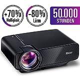 RAGU Mini projecteur multimédia portable Full HD avec une luminosité de 70% 50 000 heures Support HDMI VGA USB AV SD connecté à Amazon TV Fierstick Laptop Smartphone Noir