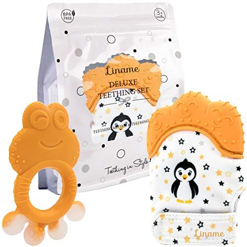 Mitaine de Dentition Liname pour Bébés avec Jouet de Dentition - Gant de Dentition sûr (sans BPA), Lavable et Durable (Teething Mitten)
