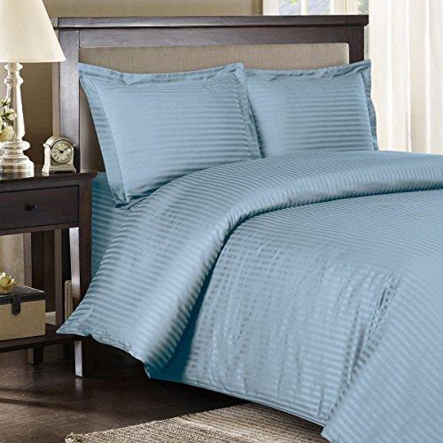 Royal Hotel Gestreifte 300fach Count 3pc Duvet-Cover 100 Prozent Baumwolle, Satin Gestreiftes, 100% Cotton Blau Full/Königin (Blau Daunendecke Königin)