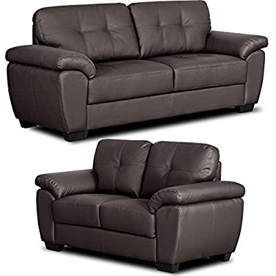 Bradwell Brown Leather Sofa Range 3 and 2 Seater Sofas (All combinations available) ... from Simply Stylish Sofas