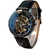 uhr herren Koly Automatic Watch Self-winding Skeleton Mechanical Leder black