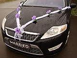 GIRLANDE M Auto Schmuck Braut Paar Rose Deko Dekoration Autoschmuck Hochzeit Car Auto Wedding Deko Girlande PKW (Lila / Weiß)