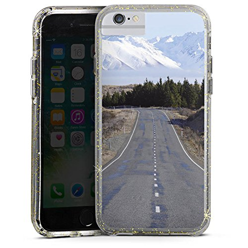 Apple iPhone 6s Bumper Hülle Bumper Case Glitzer Hülle Landschaft Street Berge Bumper Case Glitzer gold