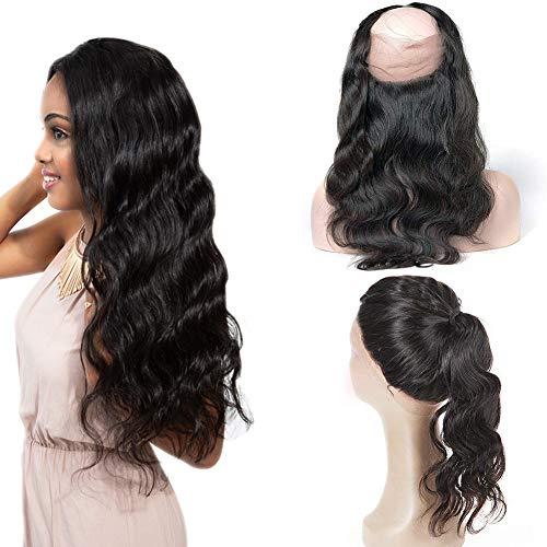 Echthaar Perücke Hair Bundles Lace Front Virgin Hair 360 Frontal Pre Plucked Free Part with Baby Virgin Remy Extensions Echte Brasilianisches Haar (20(360)) (Curly Menschliches Haar Lace Perücken)