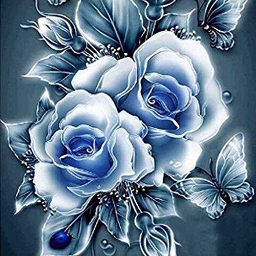 5D Diamond Painting Kit Bricolage en Strass en Broderie Cross Stitch Arts Craft pour décoration Murale à la Maison-Rose/Pensée/Fleur d'amour de Papillon/Fleur de Pivoine (30x30cm, D)