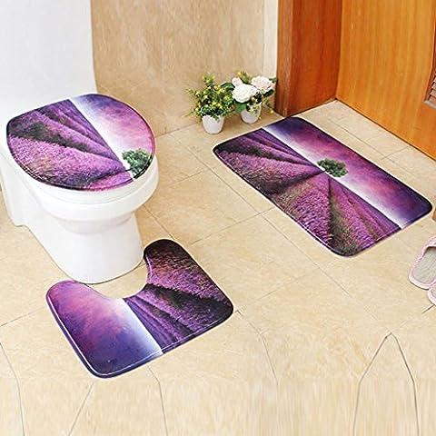3 pcs set rutschfesten szene print - podest teppich + deckel toilette decken + badematte, elvet stoff badezimmer fußabtreter, rutschfestigkeit unterm teppich (Lila)