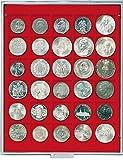 Lindner 2115 Münzenbox mit 30 quadratischen Vertiefungen für Münzen/Münzenkapseln mit Ø 38 mm-Grau / rote Einlage von Lindner