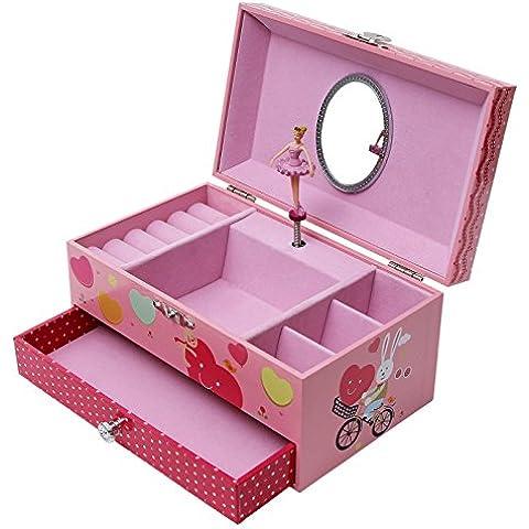 Songmics Joyero musical Caja de música con diseño de bailarina Regalo para niñas Color rosa
