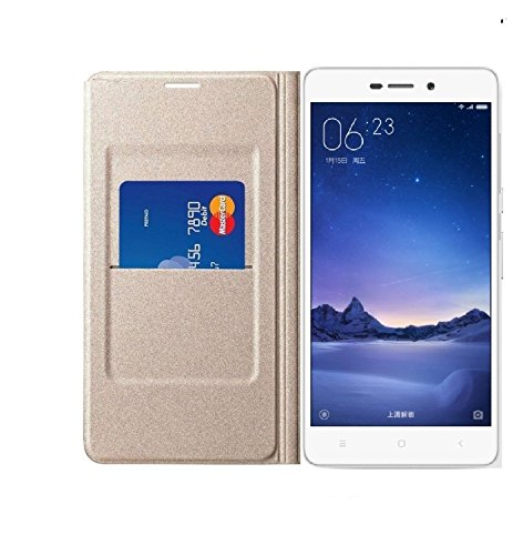High Quility Perfect Fitting Flip Cover For Xaiomi Redmi 3s Prime (GOLD)