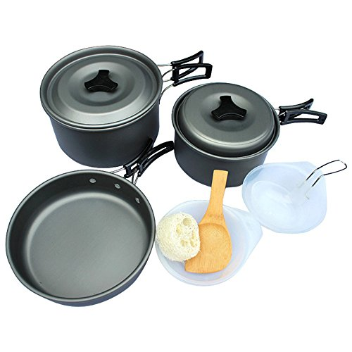 BenSports Camping Tableware Sets, Outdoor Cooking Set Cookware Consists of 12 Pieces, Ideal for 2-3 Person, Anodized Aluminum Picnic Supplies
