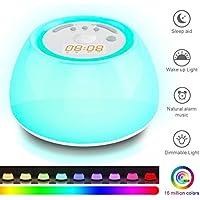KINGSO Aufwachen Licht Wecker Nachtlicht mit Naturgeräuschen, Touch-Control und USB-Ladegerät, Modernes Dekor-Design... preisvergleich bei billige-tabletten.eu