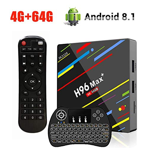 OKEU H96 Max Plus Android 8.1 TV Box, 4GB RAM + 64GB ROM RK3328 Quad Core 4K Ultra HD TV Box Support 2.4GHz / 5.0 GHz WiFi, Mini Wireless Backlit Keyboard, 3D
