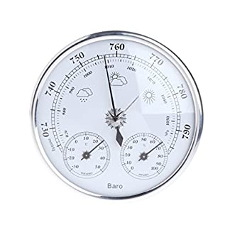 Angelliu – Termómetro de Pared para Interiores, barómetro, higrómetro, termómetro de Pared, Estilo Vintage, para casa, Oficina, jardín, Garaje, Invernadero