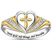 Jude Jewelers Silver Gold Two Tone Heart Shaped Christian Cross Prayer Religious Ring