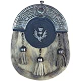 AJW Scottish Kilt Sporrans Fake Seal Skin Celtic Cantle Antique Finish/Mens Kilt Sporran