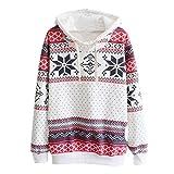 toamen femmes hiver printing pulls noël flocon de neige sweat à capuche sweat-shirt (m, blanc)