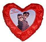 """Personalized Embossed Red Heart Shaped Pillow & Cover - 14"""" x 14"""" - Customize with Your Photos & Messages"""
