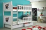 Etagenbett aus Kieferholz 200 x 88 x 160 cm Lackiert Babybett Kinderbett Bett Schlafzimmer Kindermöbel + Schubladen + Matratzen Lattenrost aus Flex-Leisten (13)