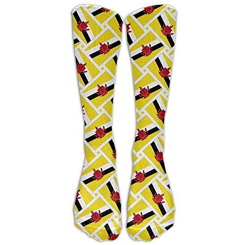 hdyefe Brunei Flag Weave Compression Socks Soccer Socks High Socks Long Socks for Running,Medical,Athletic,Edema,Diabetic,Varicose Veins,Travel,Pregnancy,Shin Splints,Nursing.