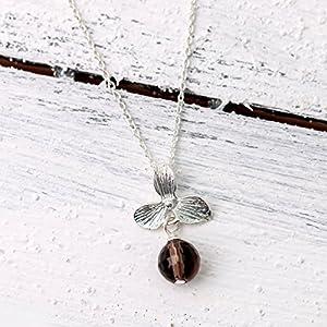 Zierliche Silberkette mit Edelstein, 925er Sterling-Silber Kette mit versilbertem Blüten-Anhänger und facettierter Rauchquarz-Perle, das perfekte Geschenk für Sie