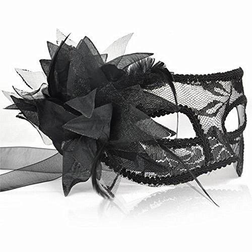 BLACK LACE & BLUME VENEZIANISCHE MASKERADE KARNEVAL PARTY EYE ()