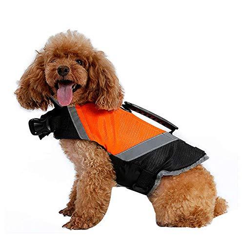 Doglemi Impermeabile giubbotto salvagente per cani Cucciolo regolabile Salvavita salvagente Abbigliamento per cani traspirante per cani di taglia media Estate invernale Nuoto arancione S